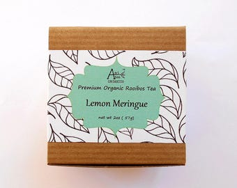Herbal Tea, LEMON MERINGUE, Organic, Lemon Hibiscus, Green Rooibos, Caffeine Free, Refreshing, Iced Tea, 2oz, Earth Friendly Packaging