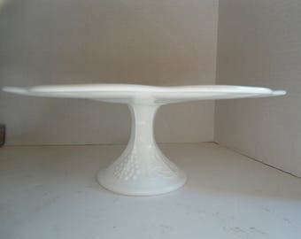 Milk Glass Cake Stand Large 13inches Indiana Glass Grape Leaves Pattern 5inch Pedestal  Scalloped Edge Vintage Christmas Gift Wedding Cake
