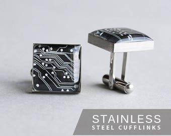 Printed Circuit Board Cufflinks, Stainless steel cuff, Science Cuff Link, Computer cufflink, PCB Cufflinks, mens cufflinks, gift for him