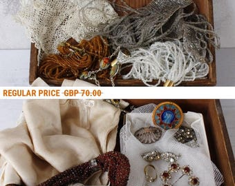 French Vintage Box of Bijoux...Lot of Bling...Frou Frou...Jewellery, Silk Stockings, Lace Collar, Purse, etc...