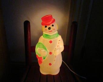 Vintage Snowman Blow Mold Empire Plastic Corp. 1968 Bright Fuschia Pink Green