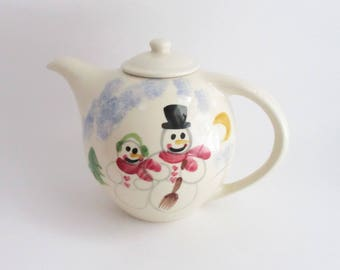 Vintage Teapot Hand Painted Snowman Family Ceramic Shannon Daughters Made in US 1988
