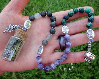 Eir Pagan Prayer Beads with Charm Bottle - Norse goddess of healing and herbalism