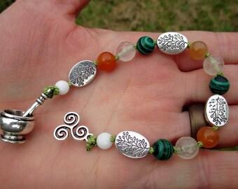 Brigid Mini Prayer Strand - Pocket prayer beads, travel prayer beads, pagan prayer beads - Irish goddess of healing, poetry, & smithcraft