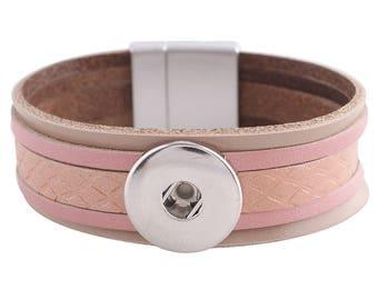 "1 Pink Leather Bracelet - 7"" FITS 18MM Candy Snap Charm Jewelry Silver KC0037 CJ0815"