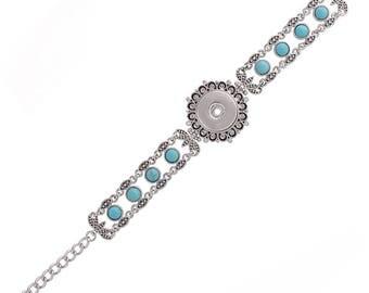 "1 Blue Rhinestone Bracelet - 6.75-8.5"" FITS 18MM Candy Snap Charm Jewelry Silver KC0714 CJ0833"