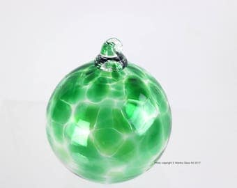 Blown Glass Green Ornament, New Green Christmas Ornament, Christmas Tree Decoration, Icicles, Blown Glass Artwork