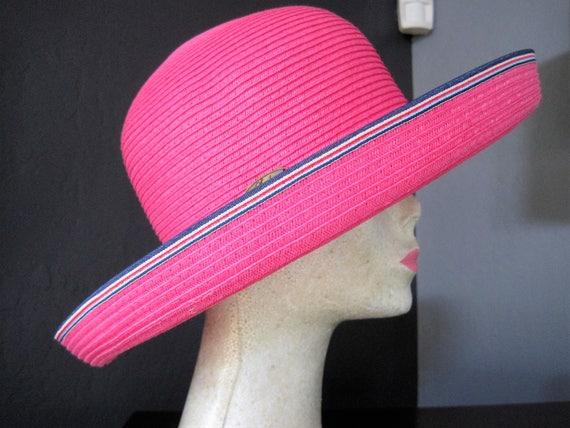 Garden Party Hat - Pink Wide Brim -  Scala Tag -  Handcrafted Headwear - Beach Sun Hat