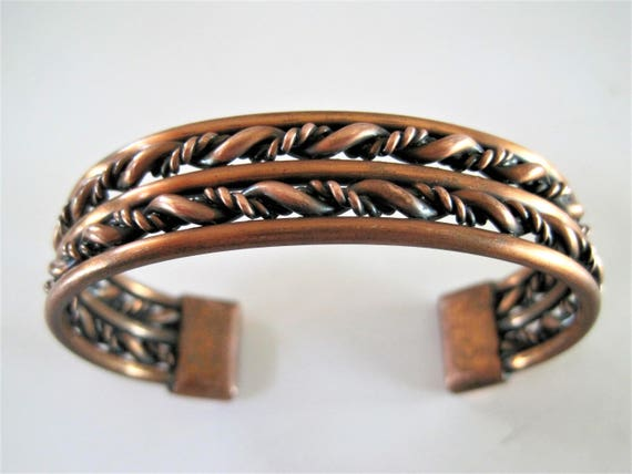 Copper  Braided Cuff - Wide Modernist  Bracelet