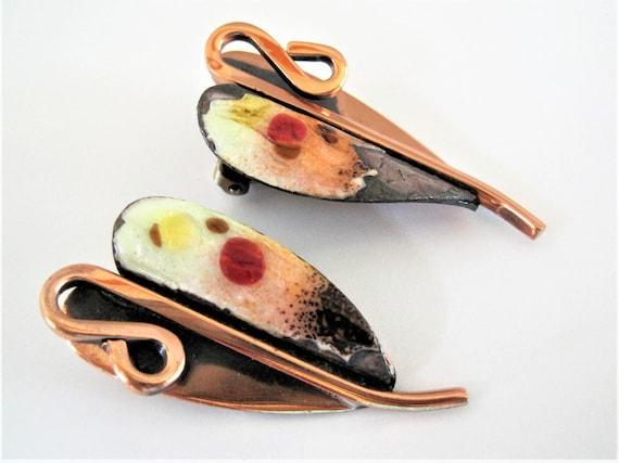 Renoir Earrings,  Matisse Signed,  Copper Enamel, Clip Ons