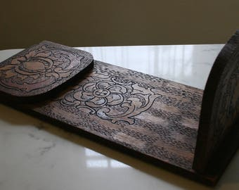 Victorian Pyrography Art Burnt Wood Carved Collapsible Bookends Floral Motif