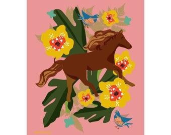 Lucky Horse Art Print 8 x 10