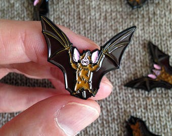 Bat Enamel Pin (Brown) LIMITED RUN - soft enamel pin, lapel pin, badge, enamel jewelry, kawaii bat, cloisonne pins, brooch