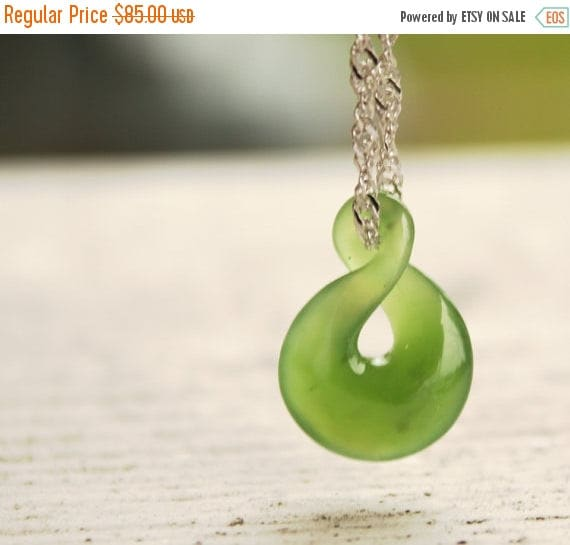 On Sale Jade Necklace Green Nephrite Jade Twisted Lucky 8