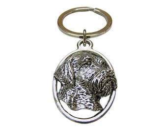 Wire Hair Dog Oval Key Chain