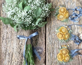 Yellow, Green and Gray 12 Piece Wedding Package - Spring Buttercup - Yellow Cedar Rose, Baby's Breath & Eucalyptus