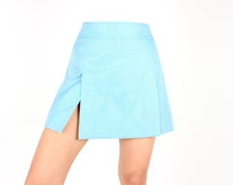 Y2K DOLCE & GABBANA Pastel Aqua High Waist Minimal Mini A-Line Flared Skirt