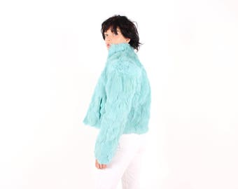 Softest Y2K 90s Aqua / Turquoise Genuine Plush Rabbit Fur Shaggy Cropped Bomber Jacket w/ Reversible Quilted Option