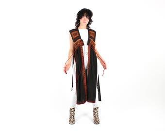 Unique / One Off Gauze Indian Floaty Vest Maxi Dress / Hippie Gypsy Crop Top