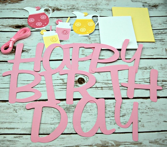 Diy pink lemonade birthday banner do it yourself kit lemonade il570xn pin it solutioingenieria Image collections
