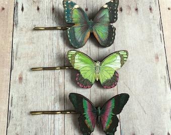 Green Butterfly Hair Accessory Purple Butterflies Garden Accessory Woodland Jewelry Greenery