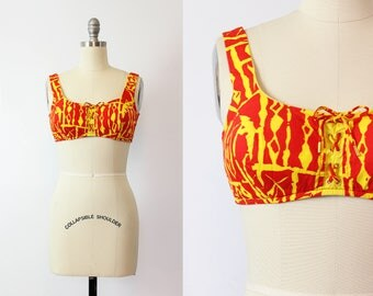vintage 60s bikini top / 1960s tropical tiki swimsuit top / cotton lace up bikini top / red and yellow sun top / LEE SWIMPLAY bikini top