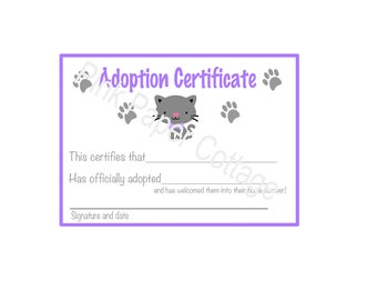 Kitten Adoption Certificates/ Digital File/ Instant Download/ Print at home/ Kitten Party