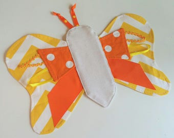 Butterfly Tag Lovey - FREE Shipping, Boy or Girl Sensory Tag Toy, Made in USA, Taggie Baby or Toddler Gift, Yellow Orange Dot Chevron