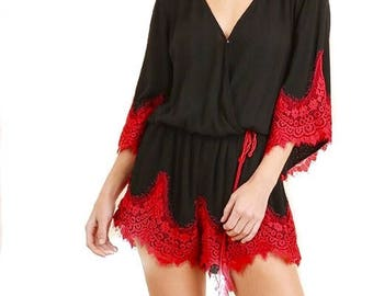 ITZEL Romper in Black with Red Lace Trim