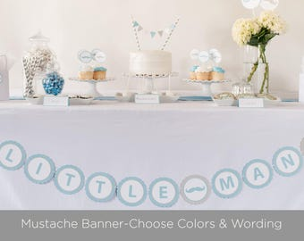 LITTLE MAN Baby Shower Banner, Mustache Banner, Little Man Baby Shower, Boy Baby Shower, Baby Shower Decor, Blue and Gray Decorations