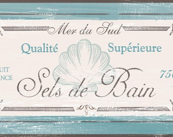 French Bath Sign, Distressed Shabby Chic Style , Vintage French bath,Rustic Bath Sign