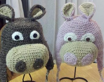 Hippo crochet hat, winter animal hat, 3d animal hats