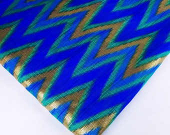 Ikat Print Polyester Fabric-Blue and Gold Ikat Print Sheer Fabric-Dress and Kaftan Fabric By Yard-Turquoise and Gold Sheer Poly Silk Fabric