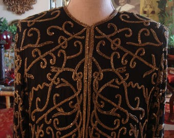 Vintage 1990s Boho Black and Gold Lord and Taylor and Sequin Jacket