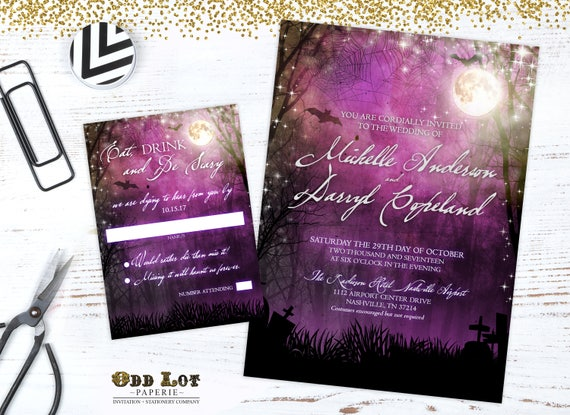halloween wedding invitation goth wedding invite bat wedding