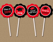 Personalized Graduation Cupcake Toppers High School Graduation Party Decorations Class of 2018 Graduation Party Idea Graduation Printable G1