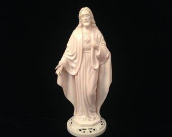 Vintage Mid Century Retro Plastic Jesus Sacred Heart Figurine/Statue Ivory White