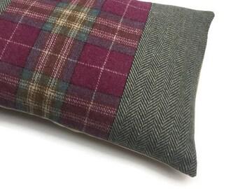 Green and Pink Decorative Oblong / Lumbar Throw Pillow Cover Rectangular Cushion Cover Wool Tweed