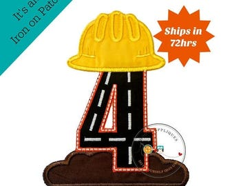 ON SALE NOW Hard hat construction birthday number 4 iron on, Road construction and dirt fourth birthday iron on applique, ready to ship, emb