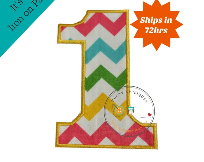 Large teal, yellow, green and pink chevron  number 1- iron embroidered fabric applique patch embellishment- ready to ship