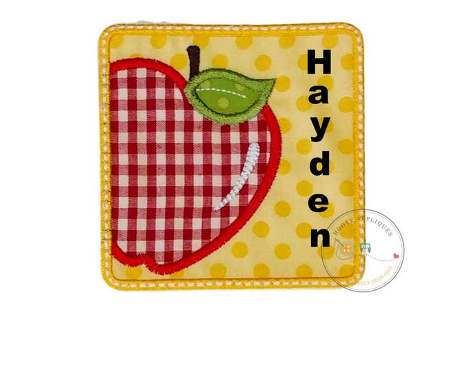 Red gingham apple back to school patch