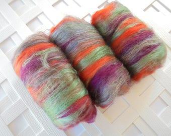Art Batt, FIREBIRD, Fiber to Spin, Art Batt to Felt, Merino Batt, Bamboo Batt, Silk Batt, Soft Luxury Art Batt, Gift for Spinner, Spin Knit