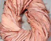 New Recycled Sari Silk Ribbon Peachy Pink Jewelry Tassel Ribbon Dreamcatcher Eco Gift Wrap Garland Weave Crochet Fair Trade Fiber Art Supply