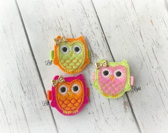 Owl Hair clip Layered Owl Embroidered Felt Hair Clips with tiny Bows Pick one or two. Pick Left side or Right.