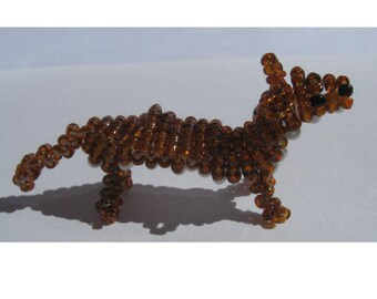 Miniature weasel in seed beads and nylon thread