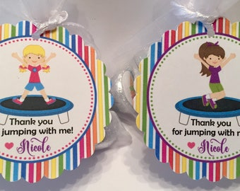 Trampoline Party Favor Tags - Trampoline Birthday Favors - Jumping Party Favors ( set of 12)