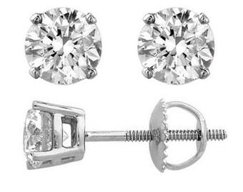 GIA Certified 6.00Ct Round Diamond Stud Earrings 18K White Gold