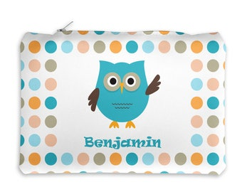 Owl Personalized Pencil Case - Owl Blue Green Coral Polka Dot with Name, Customized Pencil Case, Pencil Holder, Pouch