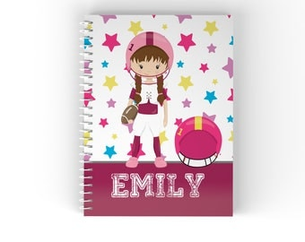 Sports Personalized Notebook - Sports Girl Star Solid Bar with Name, Customized Spiral Notebook Back to School