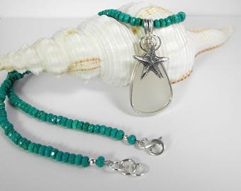 Dreaming of an Island Vacation Wearing my Turquoise and White Sea Glass Necklace